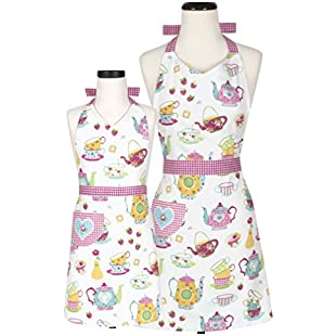 Customer reviews Handstand Kitchen Mother and Daughter 'Spring Tea Party' Apron Set