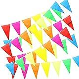 50M Banderines de Tela, ZoneYan 100 Guirnalda Triangulos, Banderolas Fiesta Decorativas, Bunting Banner, Banderín Multicolor, Para el Partido Jardín al Aire Libre y Otras Fiestas