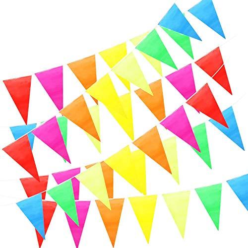 ZoneYan 50 m Bunte Wimpelkette, Party Girlande Deko, Wimpel Banner, Stoff Bunting Banner, 100 Dreieck Flags Multicolor