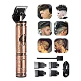 Hair Clippers for Men, Beard Trimmer Cordless Rechargeable Grooming Hair Cutting Kits T-Blade Ceramic Blade Shaver with 4 Guide Combs Cutting Kits for Family Use Home Daily Use Barbers
