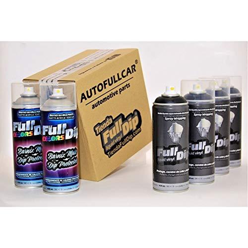 AutoFullCar - Pack Sprays Full Dip nero metallizzato opaco vinile liquido   FullDip