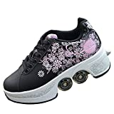 K.L.T Automatic Walking Shoes Kick Rollers Deformation Roller Skate 2 in 1 Removable Pulley Skates Skating Double-Row Deform Wheel Footwear Skate Shoe,Black,5.5 Women/4 Men