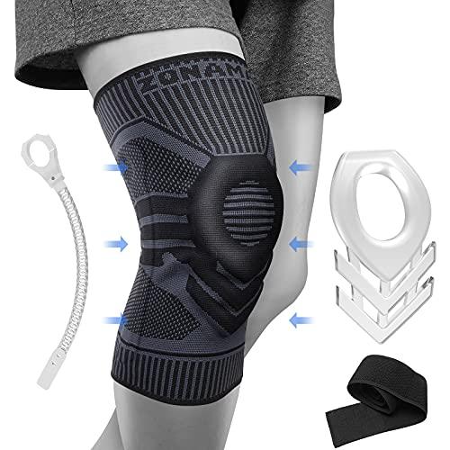 ZONAMA Kniebandage für Männer Damen, Meniskus Kniestütze mit Patella Gel Pads & Seite Stabilisatoren & Klettverschluss, Medical Grade Knie-Pad für Laufen, Meniskusriss, Arthritis, Black-M
