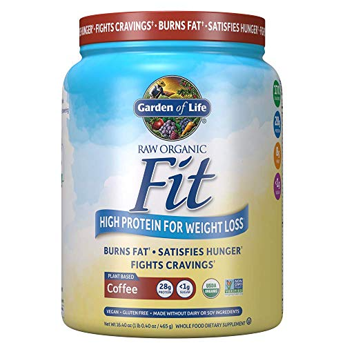 Garden of Life Raw Organic Fit Vegan Protein Powder - Coffee, 28g Plant Based Protein for Weight Loss Plus Fiber, Probiotics & Svetol, Organic Nutritional Shake, 10 Servings