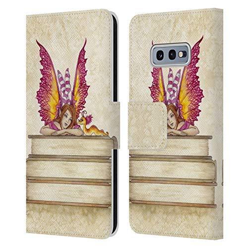 Head Case Designs Licenciado Oficialmente Amy Brown Pixie Rosa Hadas Encantadoras Carcasa de Cuero Tipo Libro Compatible con Samsung Galaxy S10e