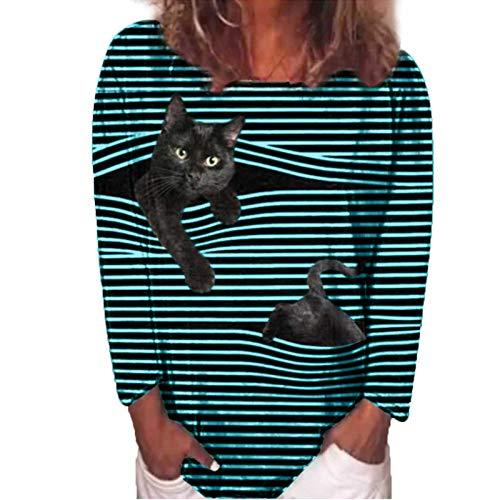 BOIYI Camisa De Manga Larga Mujer Cuello Redondo Camisetas A Rayas con Estampado De 3D Gatos Bolsillo Camiseta Ropa De Calle Blusas Informal Tops(Azul,XXL)