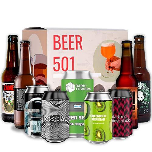 Pack de cervezas artesanales BEER 501 - Caja Cerveza artesanal: Espiga, Panda Beer, Dark Towers, Zeta, Redneck, Castello, Speranto. I Mejores cervezas españolas artesanales para regalar y disfrutar.
