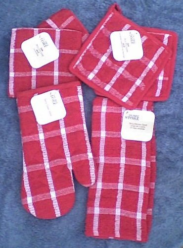 6 Piece Set - 2 Red Terry Cloth Potholders - Red Terry Cloth Oven Mitt - Red Terry Cloth Dishtowel - 2 Red Terry Dishrags