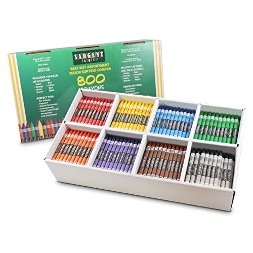 81-0010 Sargent Art 800 Crayon Class Pack, 100 Each of 8 Fun Colors, Standard Size, AP Certified, Classroom Ready, Kids Craft, Poster, Drawing, and Coloring
