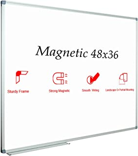 JILoffice Magnetic Dry Erase Board/Whiteboard, White Board 48 x 36 Inch, Silver Aluminum Frame Wall Mounted Board for Office Home and School
