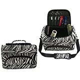 Hairdressing Tools Storage Carrying Case,Hairdresser Designer Session Bag Large Mobile Hair Salon Kit Holder with Strap for Hair Stylist Shoulder Carrying Zebra