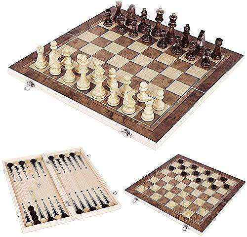 H.Q Juego de Mesa de ajedrez para Adultos y Tablero de ajedrez portátil para niños, Conjunto de ajedrez de Madera Plegable, Juego de Rompecabezas para Padres-Infantiles de Familia 39 x 39cm