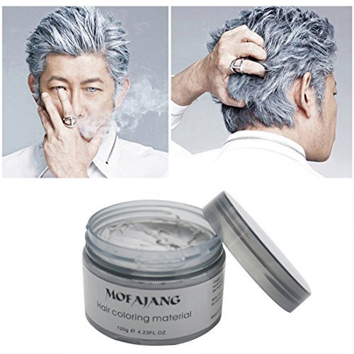 MOFAJANG Hair Color Wax Natural Ash Matte Long-lasting Professional Hair Coloring Preparations, 4.23oz for Men and Women (Silver Grey)