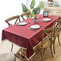 テーブルクロス長方形 レース防塵表カバーに4-6場所設定、7色のソリッドカラータッセルテーブルクロス刺繍ファブリックテーブルクロスのためにパーティーコットンリネン (Color : Red, Size : 140*100cm)