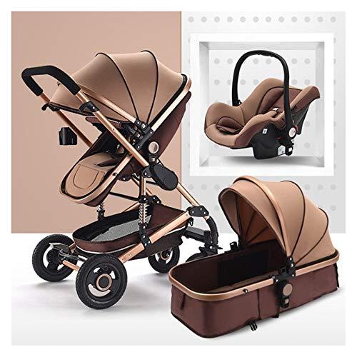 XYSQ Cochecito de bebé, cochecito 3 en 1, cochecitos y cochecitos, cochecito de bebé recién nacido, alto paisaje, cochecito de bebé portátil, cochecito de bebé plegable de lujo (color marrón