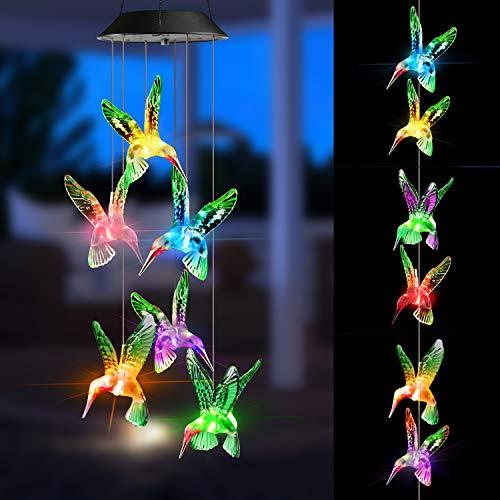 Joomer Luces solares al aire libre, colibrí solares, campanilla de viento que cambia de color, guirnalda de luces solares para el hogar, jardín, patio, porche, ventana