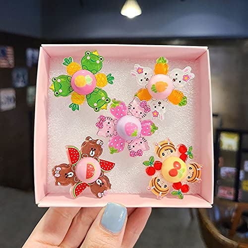 XIAOXINXIN 5pc Spinner Rings,Cute Trendy Candy Color Plastic Opening Ring,Kids Finger Rings,for Party Games Supplies Toys Gifts Fashion Jewelry(A)