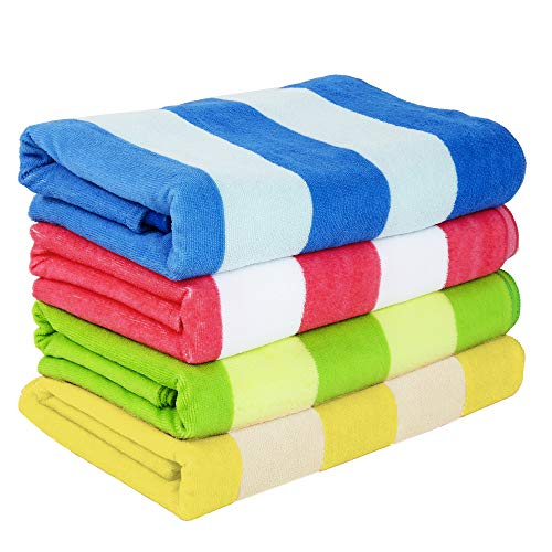 Exclusivo Mezcla 4 Pack Microfiber Cabana Striped Large Beach/Pool/Bath Towel for Adults (Mixed-Color, Blue/Yellow/Green/Pink, 30' x 60')—Soft, Quick Dry, Lightweight and Plus