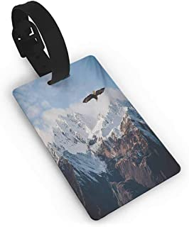Frozen Peaks Tops of The Mountain with a Flying Eagle Free in Nature Photo Luggage Tag for Women Men, Travel ID Label Leather for Baggage Suitcase 1 Piece
