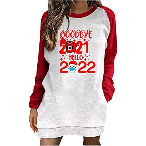 Womens Christmas Long Pullover Tops Reindeer Print Sweatshirt Long Sleeve Color Block Tunic Loose Fit Graphic Tshirt