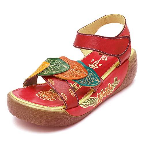 Socofy Sandali da Donna da Estate Donne Elegante Scarpe Caviglia Sandali con Zeppa Vintage Fiore Colorato Pantofola Comodo Indossare Sandali Folkways Scarpe da Balletto Casual Flat