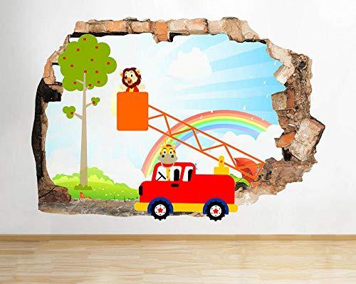 HQSM Pegatinas de pared Los animales elevan el árbol de la guardería niño rompió la etiqueta de la pared 3D arte pegatinas vinilo habitación