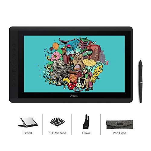 Artisul D16 15.6 Zoll Grafikmonitor Drawing Pen Tablet 1920 X 1080 HD Grafiktabletts mit 7 Tastenkombinationen und einem Ständer,Guter Partner für unterwegs und zu Hause