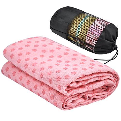 Accessotech Sport-Fitness-Reise-Yogamatte, Handtuch, Decke, rutschfest, für Pilates, Rosa