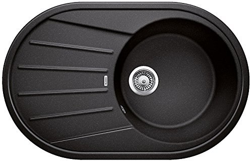 Blanco Tamos 45 S, Küchenspüle mit rundem Spülbecken, aus Silgranit, Anthrazit-schwarz, reversibel / mit 3 1/2
