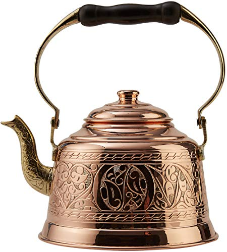 DEMMEX 2017 Heavy Gauge 1mm Thick Hammered Copper Tea Pot Kettle Stovetop Teapot (Engraved Copper)