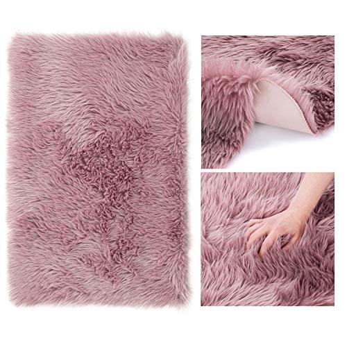AmeliaHome Alfombra de piel de cordero sintética de pelo largo rectangular Dokka rosa envejecido, 60 x 90 cm