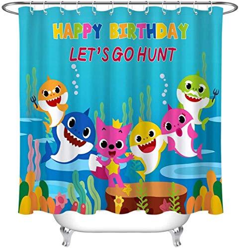 DINGQING Happy Baby Shark Geburtstagsfeier Duschvorhang verschleißfester wasserdichter schnell trocknender Badezimmer Duschvorhang