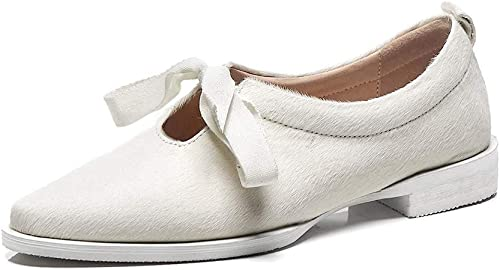 XLY Mocassins en Cuir pour Femmes Pointu Toe Lace Up Up Ladies Robe Chaussures,blanc,34  marque célèbre