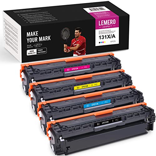 LEMERO UEXPECT 131X 131A - Cartucho de tóner compatible para HP 131X 131A CF210X CF210A CF211A CF212A CF213A para HP Laserjet Pro 200 Color Printer M251n M251nw MFP M276n M276nw