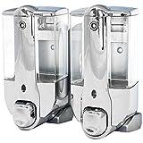 Zweifach Seifenspender Dosierer Shampoo Flüssigseife Seife Spender Chrom Küche Bad Wandmontage...