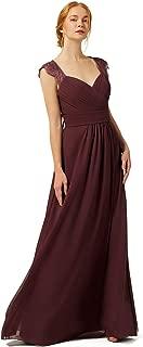 Women's Cap Sleeve Bridesmaid Dresses Lace Chiffon A line Long Wedding Guest Dress Formal Dress OB002