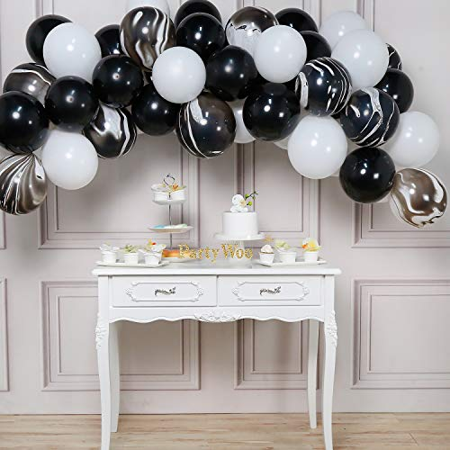 PuTwo Balloons 50 Pack 12 Inch Black Marble Kids Birthday Party Supplies Wedding Decorations Hen Party Accessories - Black