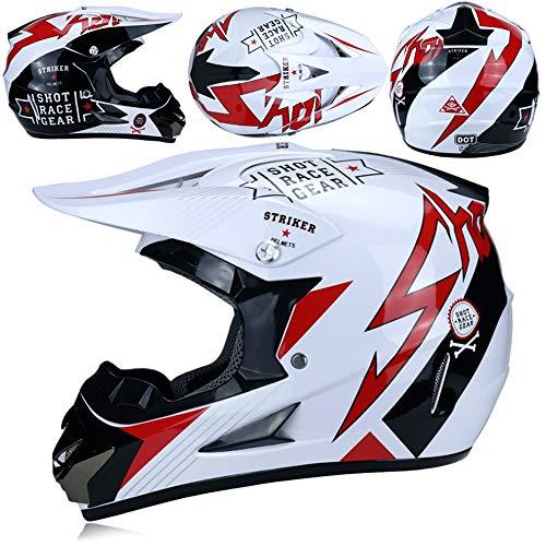 MRDEER Motocross Helm, Adult Off Road Helm mit Handschuhe Maske Brille, Unisex Motorradhelm Cross Helme Schutzhelm ATV Helm für Männer Damen Sicherheit Schutz, 5 Stile Verfügbar,E,L