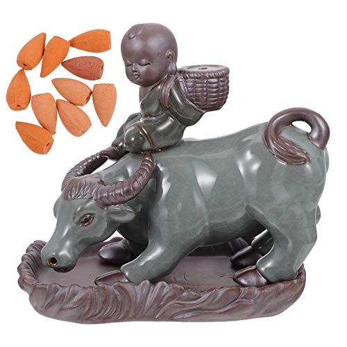 IMIKEYA Queimador de incenso de refluxo de cerâmica para gado e meninos, suporte de incenso para decoração de casa, escritório, purificação de ar e aromaterapia (ciano - azul marrom)