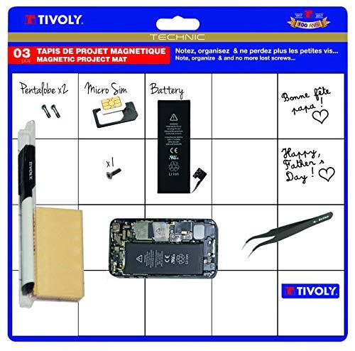 Tivoly 11110420001 Set Arbeitsmatte, magnetisch, trocken abwischbar, für Präzisionsarbeiten