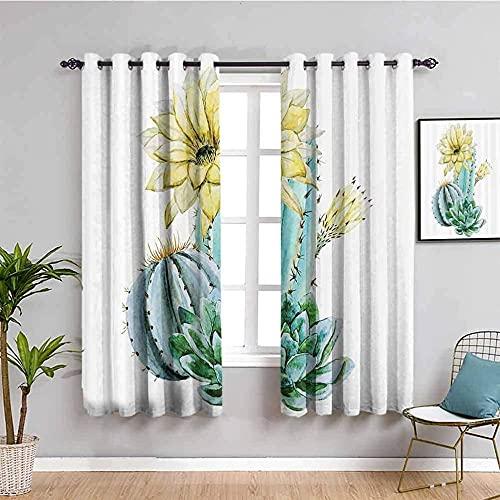 LWXBJX Opacas Cortinas Dormitorio - Flor Blanco Cactus Simple - Impresión 3D Aislantes de Frío y Calor 90% Opacas Cortinas - 200 x 214 cm - Salon Cocina Habitacion Niño Moderna Decorativa
