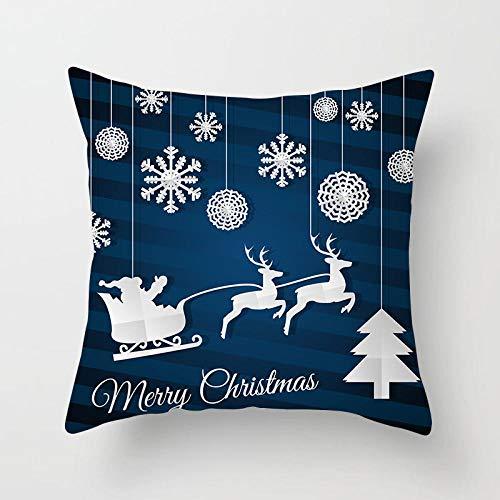 Feliz Navidad Funda de almohada Reno Papá Noel Árboles de luz de hadas Decoración navideña Fundas de cojines Regalos Almohadas de poliéster 45 × 45 cm-10