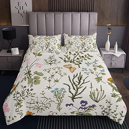Colcha de flores con diseño de mariposa, para niños, niñas, adultos, ramas, juego de colcha de flores, decoración de plantas, colección de dormitorio, 3 piezas, tamaño doble