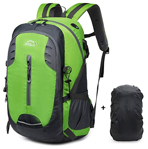 30L Lightweight Hiking Backpack Trekking Rucksacks Travel Casual Daypack Outdoor Sports Bag with USB Charging Port,with Waterproof Rain Cover Green