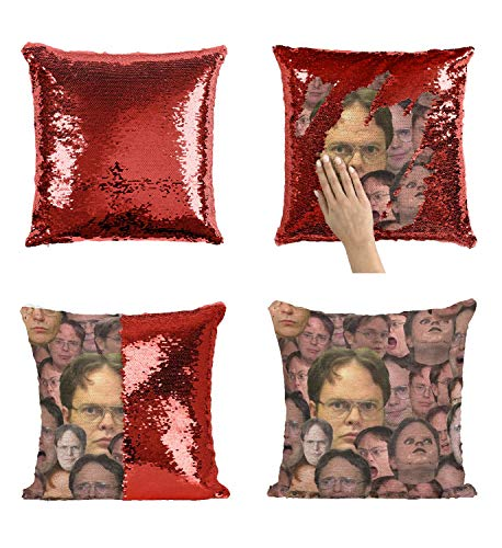 Dwight Schrute Faces C105 Sequin Pillow Almohada, Funny Throw Covers, Sequins Pillows, Weird Stuff, Unicorn, Flip Mermaid Scales Reversible (Cover + Insert)