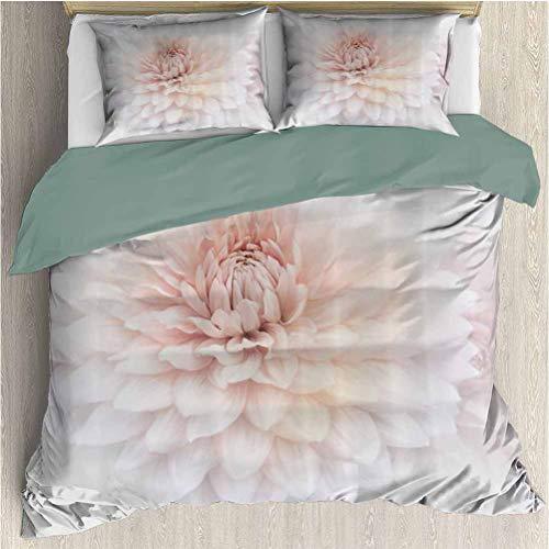 Dahlia Flower Decor Bedding 3-Piece Queen Bed Sheets Set, Ultra Soft Microfiber Bedding Blossom with Distinct Macro Petals Vine Herbs Seeds Natural Wonder Image (1 Duvet Cover + 2 Pillowcases) Pink