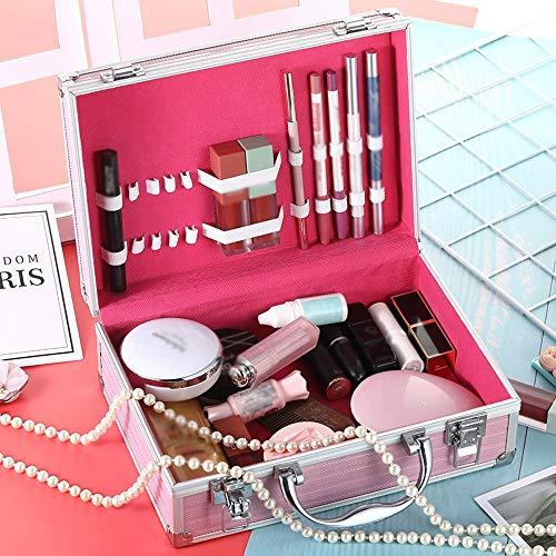 XuZeLii Boîte De Maquillage Grand Espace Maquillage Etanche Cosmétiques Voyage avec Serrure Femmes Convient pour Voyage (Color : Pink, Size : 25x9x16cm)