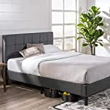 Zinus Lottie Upholstered Square Stitched Platform Bed with Footboard / Mattress Foundation / Easy Assembly / Strong Wood Slat Support, Queen