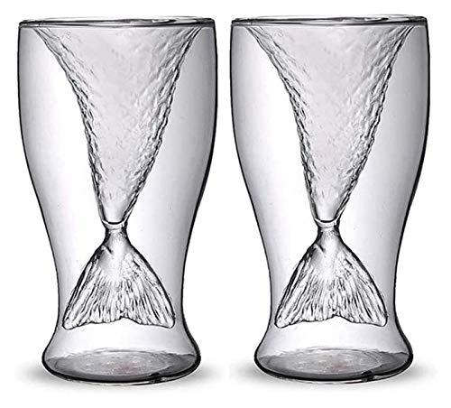 DWhui Copa de Vino Cristal Sirena Transparente Vidrio Pescado Pescado Práctico Creativo Vino Taza Resistente al Calor Barra de Vidrio Tazas Conjunto de Whisky Crystal