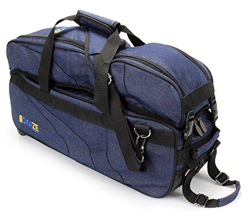 KAZE SPORTS 3Ball Deluxe Bowling Tournament Tote mit Abnehmbarer Schuh & Zubehör Tasche, blau